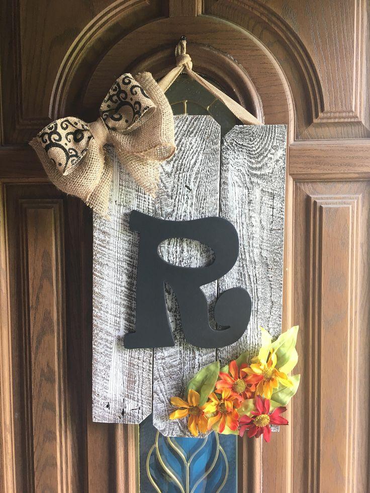 Monogramed Burlap Bow Door Hanging by BeautifullyRuinStore on Etsy