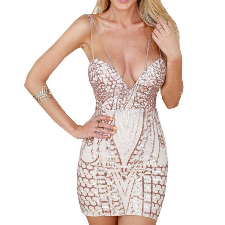 Купить товарЖенщины спагетти ремень золото блесток платье повязки лето сексуальное платье блестками геометрический женщины bodycon клуб платье в категории Платьяна AliExpress.