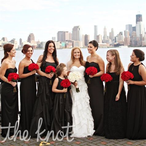 If we do black and red...The bridesmaids all chose their own black floor-length evening gowns.