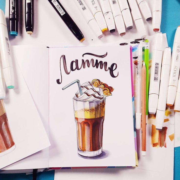 Сегодня в @sketchpark от души поскетчили всякий разный кофе и записали еще два новых интересных урока для будущего видеокурса☺✏ #janelipart_markers #sketchpark_online #sketchpark_sweet
