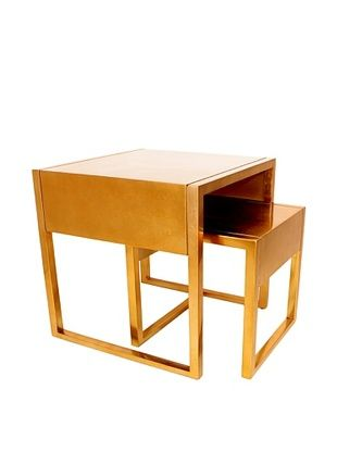 -24,900% OFF Set of 2 Gold Leaf Stacking Tables, Gold