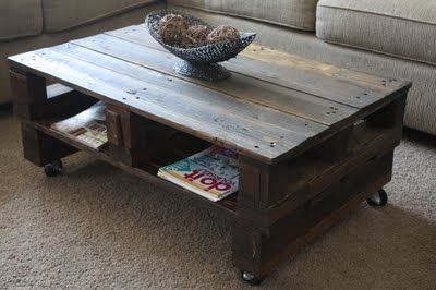 a cool pallet coffee table, check out this link with how to make it yourself.  http://wilsonsandpugs.blogspot.com/2011/07/pallet-coffee-table.html