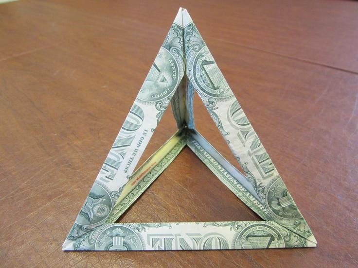 dollarfoldtetrahedron moneygami pinterest