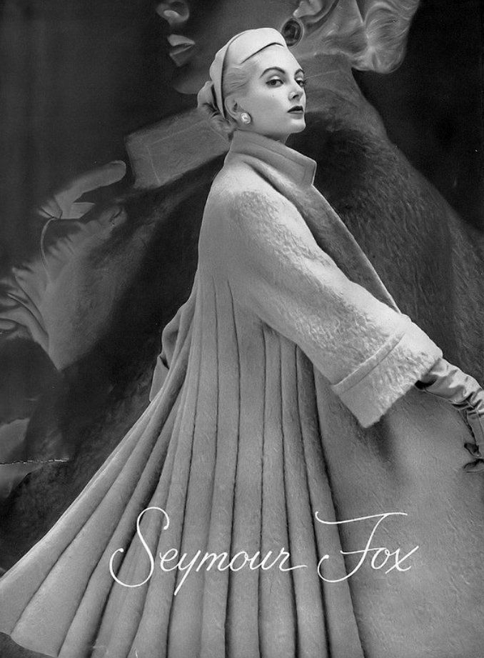 pinterest: @ Gulzhan06                        1953 Carmen Dell' Orefice, coat by Seymour Fox, Harper's Bazaar.