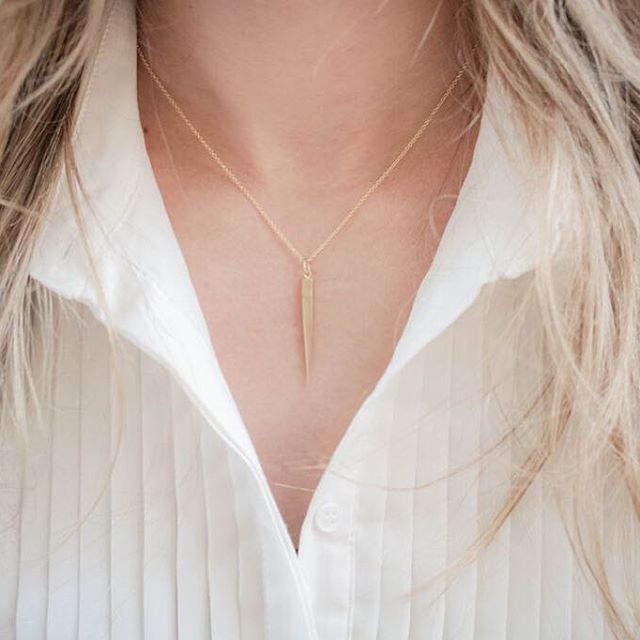 Weekend ready   Our Yellow Gold Spike Necklace is perfect for layering or worn on its own
