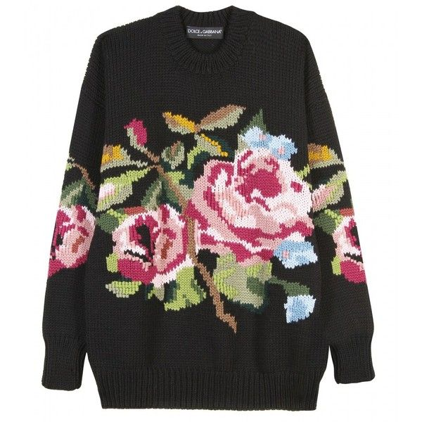 Dolce & Gabbana Embroidered Wool Knit Pullover ($1,403) found on Polyvore featuring women's fashion, tops, sweaters, shirts, jumpers, ricamati, wool knit sweater, sweater pullover, knit pullover sweater and pullover shirt