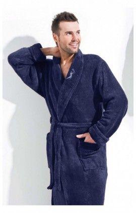 Peignoirs, Robes de chambre Szlafrok Wiktor Soft Navy Blue L&L collection 14842