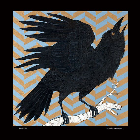 """Graphic Corvidae at it's Bestest!! """"Clarion Call"""" by WanderingMuseDesigns"""