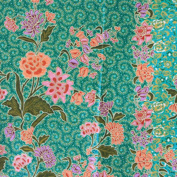green vintage flowers cotton traditional Indonesian by 18dec, $17.00