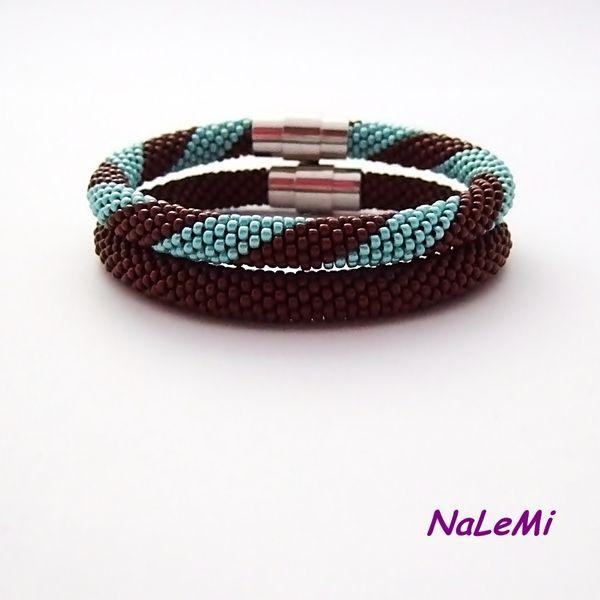 Komplet bransoletek brązowo-turkusowy w NaLeMi na DaWanda.com