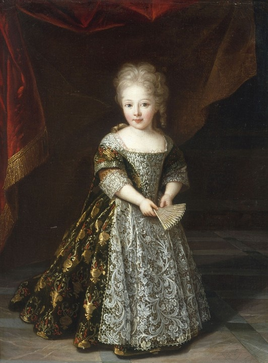 Portrait of a Young Girl wearing an Embroidered Lace-Trimmed Dress (1710) - Louis Ferdinand Elle the Younger