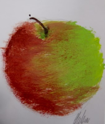 Apple Theme.  Mixed Media stations for several weeks to work in oil pastel, charcoal, watercolor, acrylic, collage, etc.