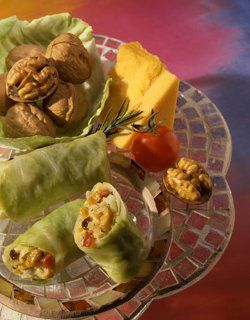"""MINI CHEESE AND WALNUT CABBAGE ROLLS: ~ From: """"The California Walnut Commission"""". Servings: (6); Cooking Time: 35 min;  ~ These Mini Cheese and Walnut Cabbage Rolls, courtesy of The California Walnut Commission, are a simple and healthy appetizer idea. Be the life of the party with this great, healthy finger food! For a healthy dish with Asian flair, you can't go wrong. Read more at http://www.favehealthyrecipes.com/Appetizers/Mini-Cheese-and-Walnut-Cabbage-Rolls/ml/1#DPvYa0cSlwrPpGMw.99"""