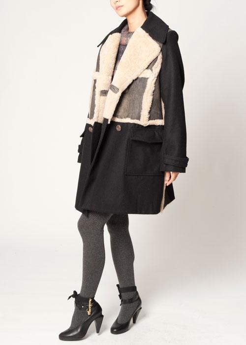 Leather Lapel Coat $632