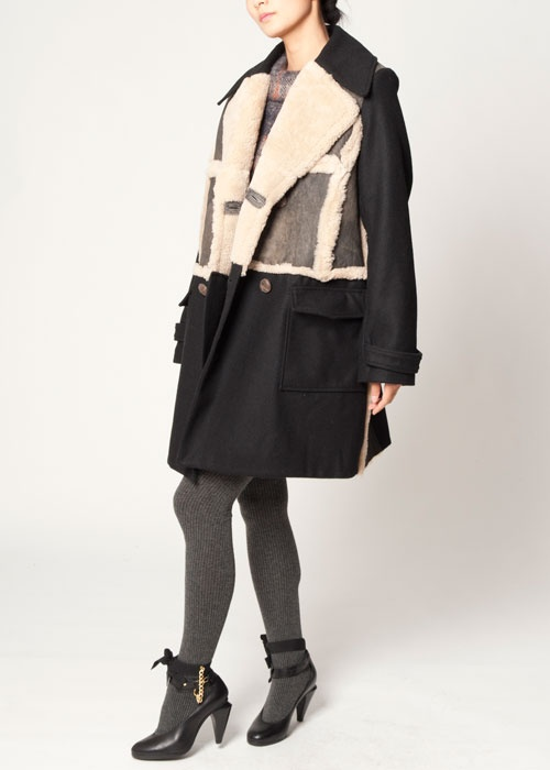 Leather Lapel Coat $632