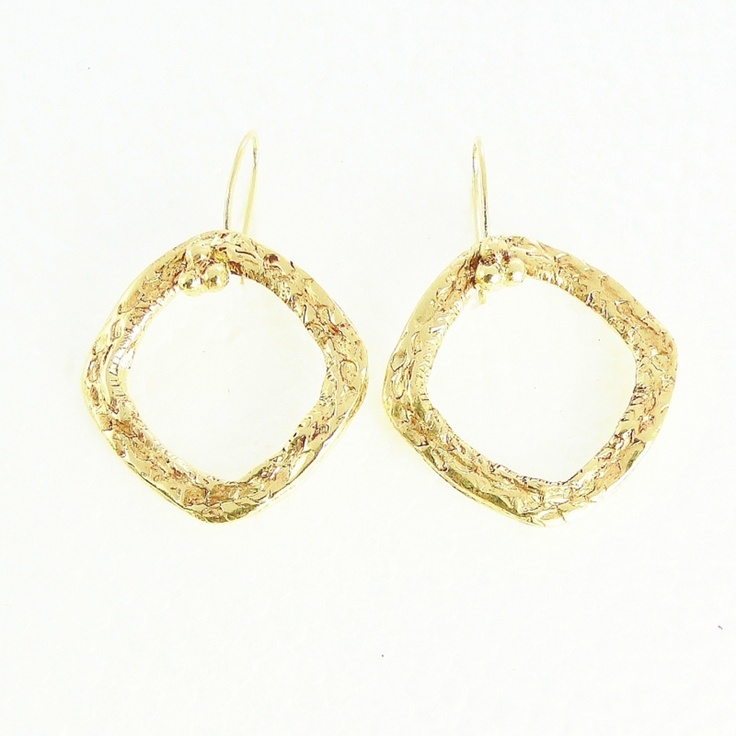 """Gold Circle Earrings by Beryl Dingemans £119 at PinstripeandPearls.com - 18K gold plated signature circle earrings – ideal designer jewellery for work.  This special """"square circle"""" is the signature of all Beryl Dingemans jewellery. http://www.pinstripeandpearls.com/product/gold-circle-earrings"""