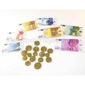 Set 50 Pièces et billets euros factices pour jeux argent