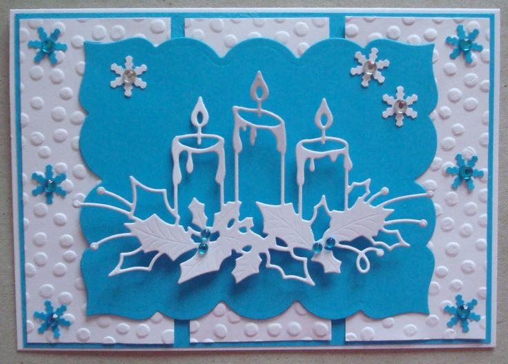 X046 Hand made Christmas card using memory box glowing candle die