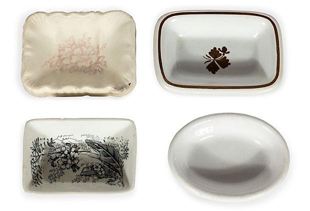 English Porcelain Soap Dishes, Set of 4 on OneKingsLane.com  $35.00
