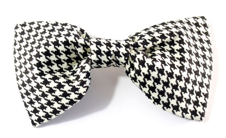 Houndstooth Dog Bow Tie- Bow Tie for Dogs - Detachable bow tie - velcro dog bow tie - Removable dog bow tie - black and white bow tie