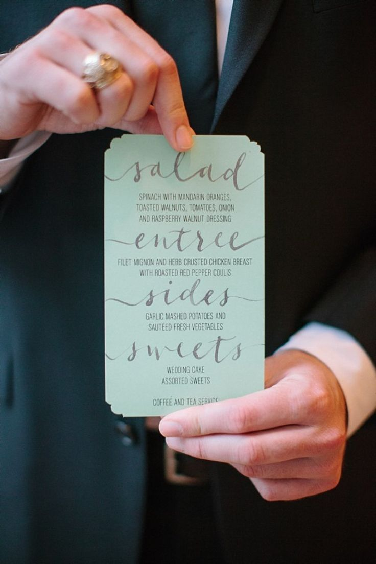 wedding menu design, like the big lettering for each course, and the corner cutouts