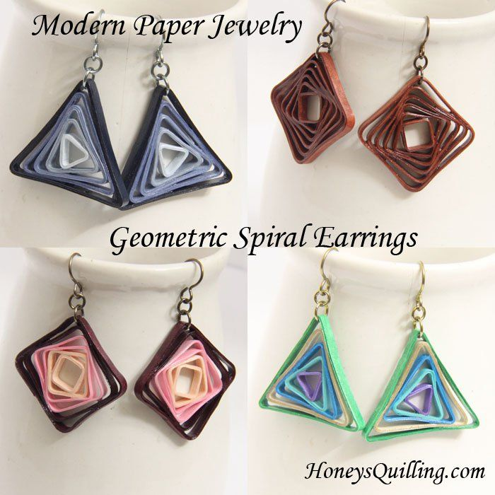 Modern Paper Jewelry - Geometric Spiral Earrings - Honey's Quilling