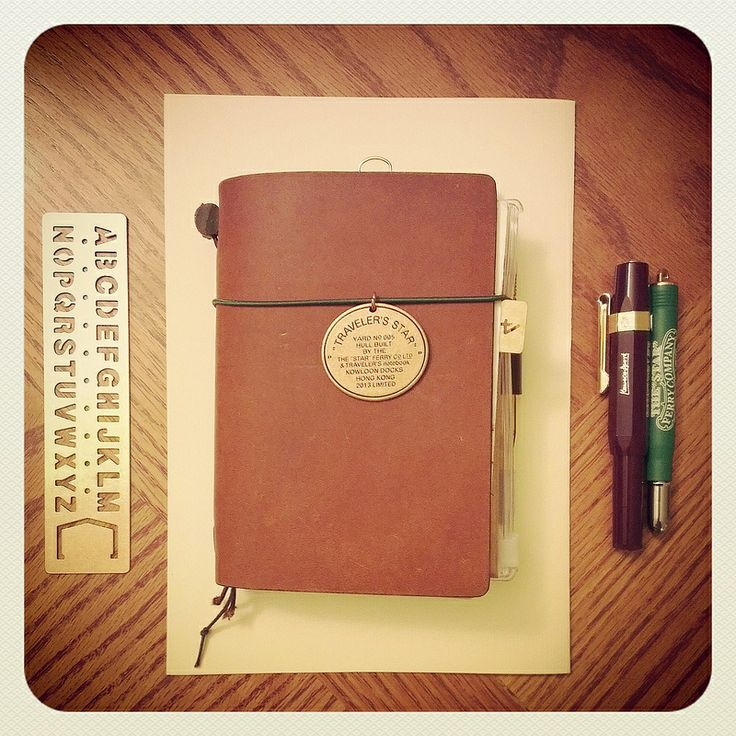 Midori Traveler's Notebook, with Midori brass ruler & limited edition pen, and Kaweco pen