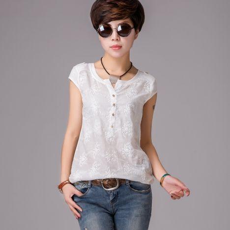 Women's 2014 Summer Korean version of the new women short sleeve T-shirt women's T-shirt lace blouse chiffon shirt big yards