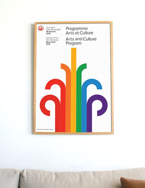 Huge Format Montreal 1976 Olympics Mid Century Danish Modern Scandinavian Herman Miller Eames Poster Print Mod Canada / FREE GLOBAL SHIPPING