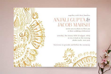 Modern Mehndi Wedding Invitations by Laura Condouris at minted.com