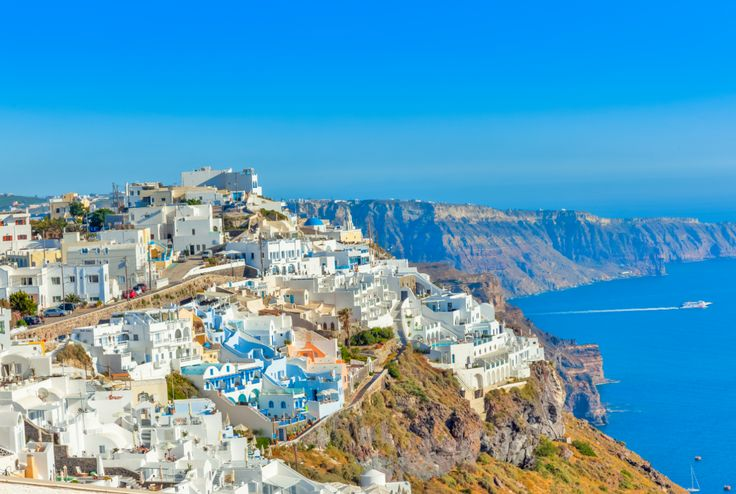 Santorini island in Cyclades,Panoramic view of caldera