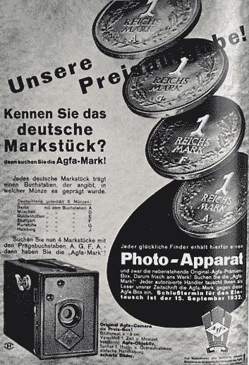 Publicidad de una Agfa Box (1932)