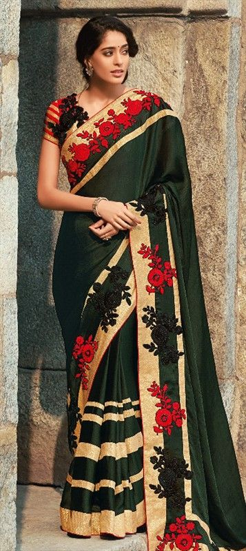 FLOWERS never looked this pretty - Order bridal #saree at flat 15% off + free shipping.  #IndianWedding #Embroidery