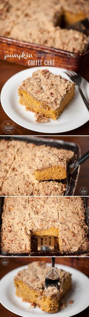 You will love this moist and delicious Pumpkin Streusel Coffee Cake for breakfast. It makes the perfect start to a cool and crisp Fall morning.:
