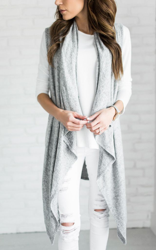 Grey waterfall long vest
