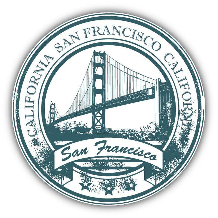 "San Francisco California Travel Grunge Rubber Stamp Car Bumper Sticker  5'' x 5""   Collectibles, Transportation, Automobilia   eBay!"