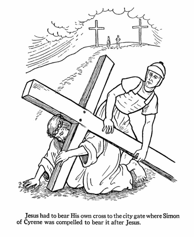 Day.11 Easter Bible Coloring page - Simon carries Jesus's cross