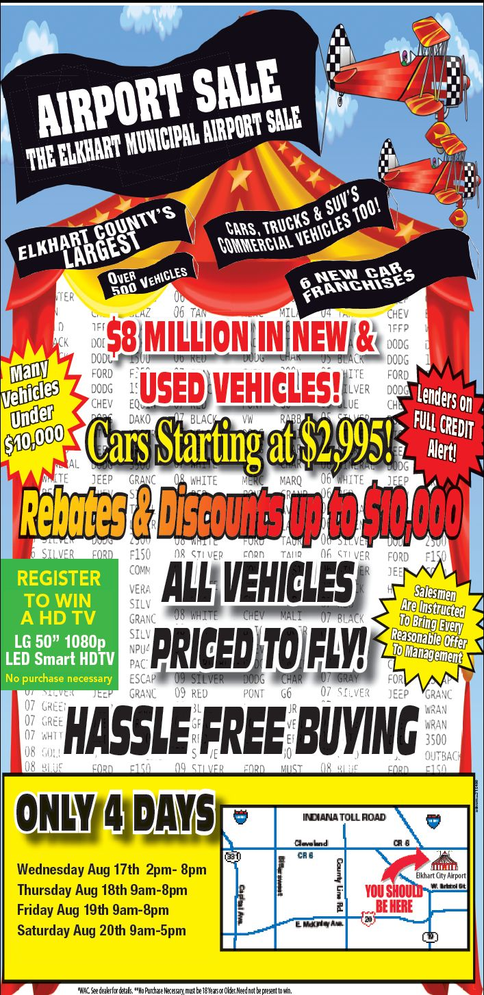 You re invited to the elkhart municipal airport august 17 20 see over used vehicleshd