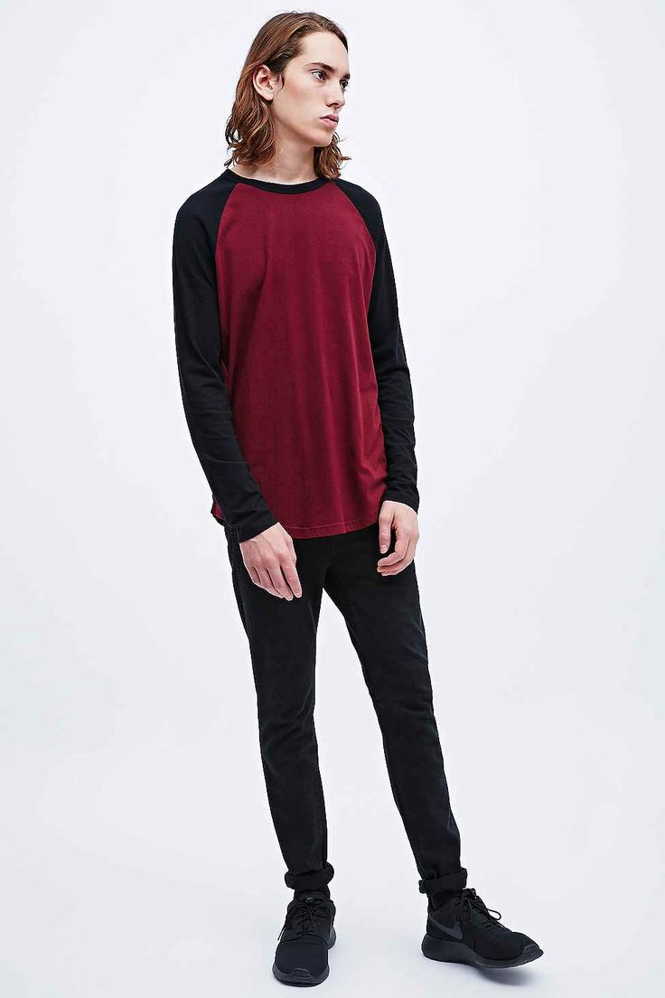 Commodity Stock Raglan Tee in Burgundy and Black