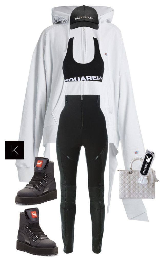 """Untitled #4085"" by kimberlythestylist ❤ liked on Polyvore featuring Vetements, Dsquared2, Puma, Christian Dior and Balenciaga"