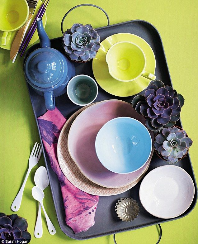 YELLOW CUPS AND SAUCERS, £22.95 each, and ENAMEL TEAPOT, £24.95, all Liberty. CERAMIC TUMBLER, £9, Ines Cole. BLUE BOWL, £32, Rowen & Wren. PINK SIDE PLATE, £6, Habitat. PATTERNED SIDE PLATE, £15, and WHITE SALSA DISH, £9.95, both The Conran Shop. HIYOKU PEONY LINEN/COTTON MIX FABRIC, £52 per m, Designers Guild. ZINC TRAY, £20, Design Vintage. CUTLERY, from £10 per piece, Cachette. PLANTS, from £4.50 each, Achillea. PATISSERIE MOULDS and BRUSHES, stylist's own