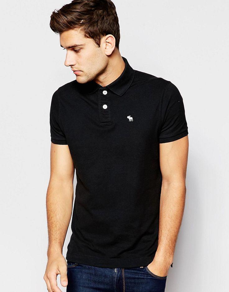 Super lækre Abercrombie & Fitch Polo Shirt with Logo In Muscle Fit - Black Abercrombie & Fitch Plain til Herrer til hverdag og til fest