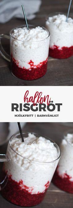 Recept: Mjölkfri risifrutti. Risgröt med chiasylt med hallon och vanilj. Glutenfritt och mejerifritt!
