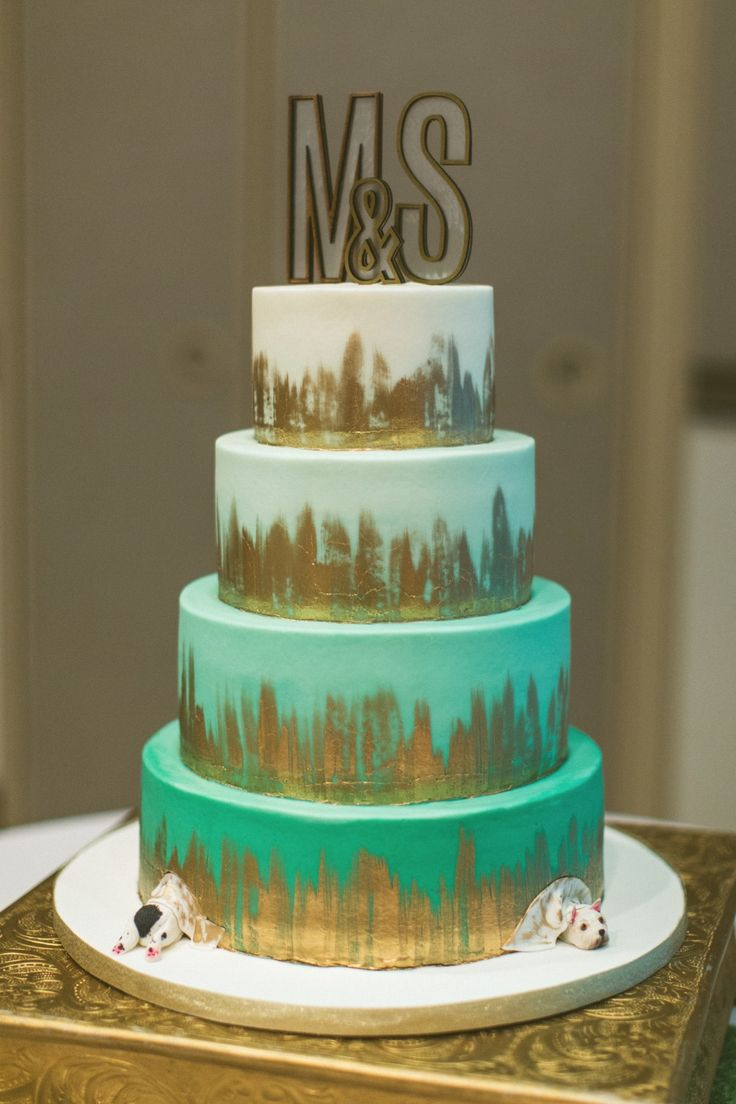 Ombre teal and gold wedding cake