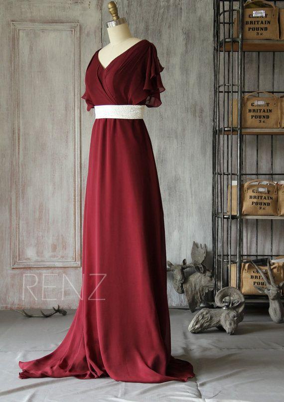 2015 New Wine chiffon Empire waist Bridesmaid dresses by RenzRags