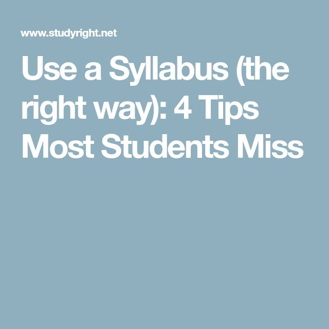 Use a Syllabus (the right way): 4 Tips Most Students Miss