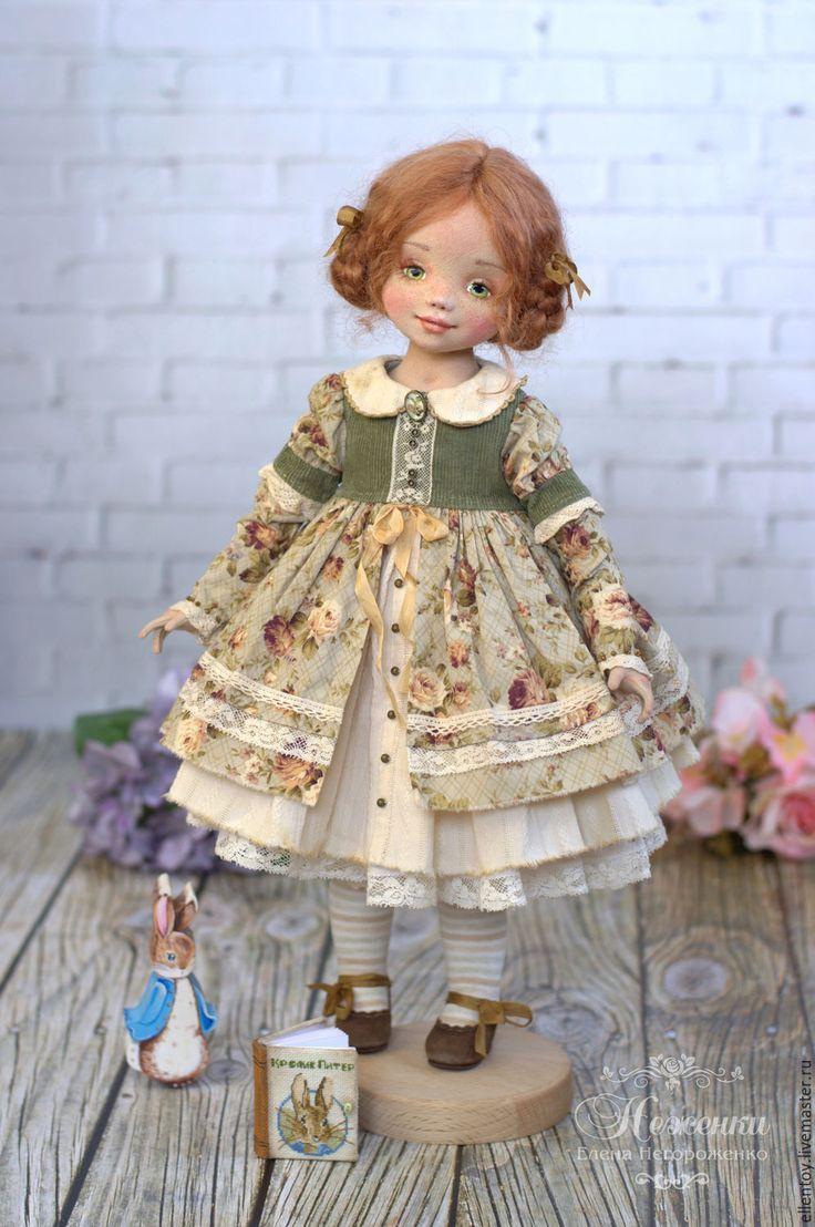 Купить Энни, текстильная авторская кукла - оливковый, зеленый, рыжий, ореховый, бежевый, нежный, неженки