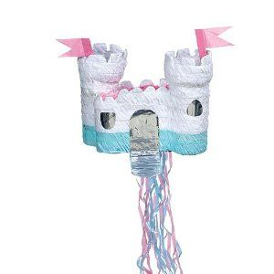 Castle Pull Pinata by Shindigz. $12.99. The Castle Pinata is white, pink and mint green and is constructed in the shape of a fairytale castle. Each of the pull-string fairytale castle pinatas measures 22 3/4 inches wide x 12 inches long x 18 1/2 inches deep and is made of paper mache. Use the Castle Pinata as a centerpiece or fill it with candy and toys as a fun fairytale princess party activity.