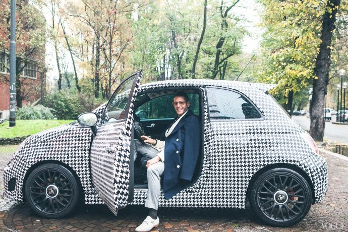 A hand-painted Fiat 500 Abarth of his own design are the Italian entrepreneur's (Lapo Elkann) wheels of choice for driving around Milan.