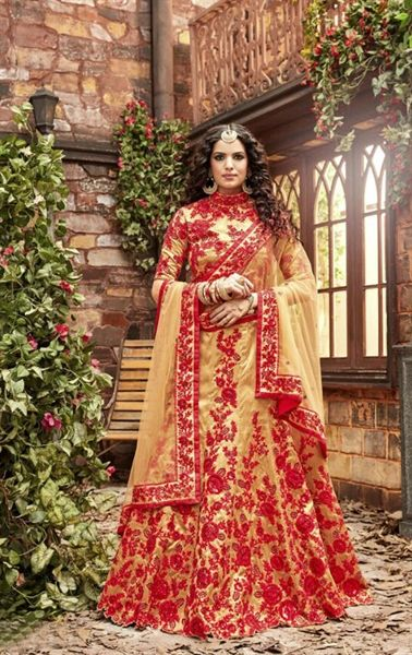 Picture of Admirable Red and Beige Designer Bridal Lehenga Choli